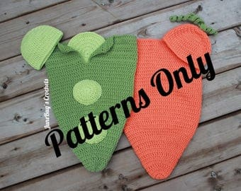 CROCHET PATTERN Peas and Carrot Newborn Cocoon Costume, Twin Photo Prop, Baby Costume, Carrot and Pea, Pea, Carrot, Baby shower gift