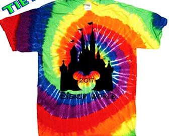 Walt Disney World Family tee shirt tie dye matching t shirts Magic Kingdom Epcot Animal Kingdom Mgm Studios Orlando Mickey Mouse Minnie