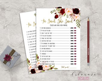 Marsala Printable He Said She Said Bridal Shower Game Floral Games Blush Pink Burgundy Peonies Flowers Wedding Trivia Quiz - BG018