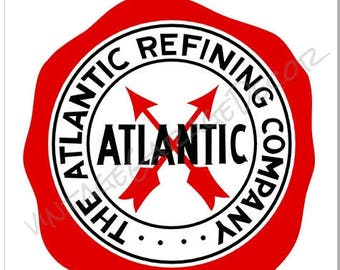 "Vintage Style "" Atlantic Motor Oil - The Atlantic Refining Company "" Metal Sign"