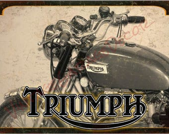 "Vintage Style Distressed "" Triumph Motorcycles "" Metal Sign"