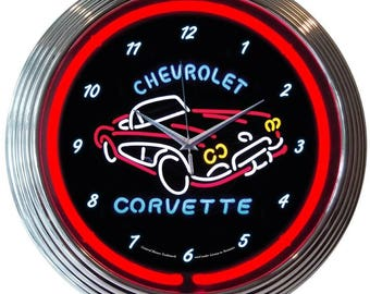 "Antique Style "" Chevrolet Corvette C1 "" Neon Clock"