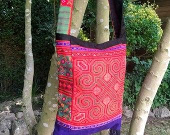 Boho patchwork bag, hippie bag, embroidered bag, slouch bag, Hmong bag, vintage textile, ethnic bag, bohemian bag, festival bag, handmade
