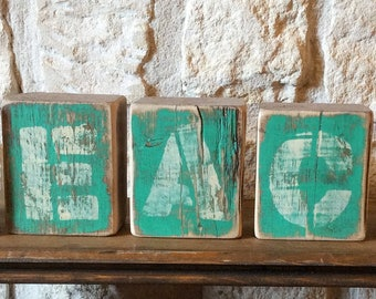 BEACH Distressed Wood Blocks-BEACH Rustic Home Decor-Beach HOME Decor-Beach Housewamimg Gift