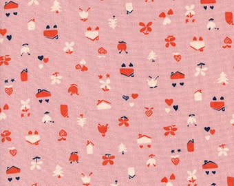 One Yard Cut - Love Nest Pink - Yours Truly by Kim Kight for Cotton + Steel -  Quilters Cotton- Fabric by the Yard