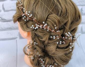 wedding hair vine for bride wreath bridal headpiece bride to be hair piece crystal halo bride rose gold bridal hair piece wedding jewelry