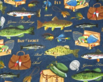 Fleece Fish and gear on navy,Baums Textile