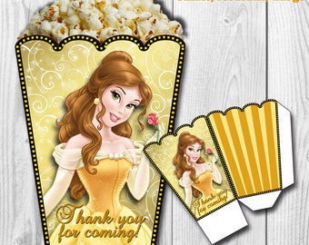 Princess Belle Popcorn Box, Beauty and the Beast Popcorn Box, Princess Belle Treat Box, PRINTABLE, You Print