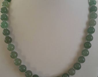 Necklace green Aventurine, stone for the skin, and Tibetan silver spacer beads