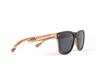 Wooden Sunglasses, Wood Frame Sunglasses, Skateboard, Handmade All Wood Sunglasses by WINKWOOD