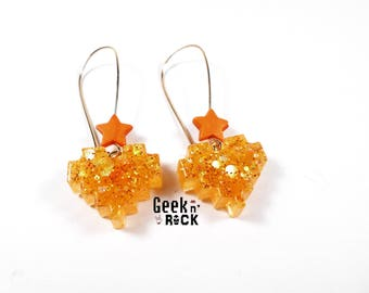 Geek earrings - pixel heart glitter holographic vibrant gamer video game nerd