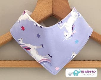 Cotton baby bandana bib - unicorns
