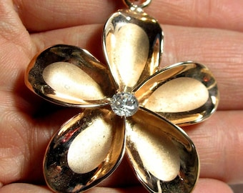 Plumeria Hawaiian Flower Pendant Rose Gold Plated Sterling Silver 925 w/ CZ 2""