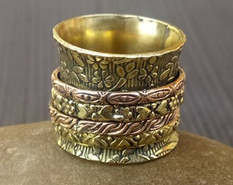 Flower Spinner rings band | Indian fusion jewelry rings | Prayer meditation jewelry | Bohemian jewelry rings | Gift jewelry for her | R143