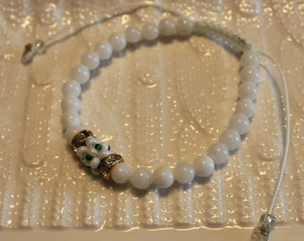 Beautiful twin-jade beaded bracelets; handmade; shamballa, beadweaving, cute, white, green, casual wear, party-wear