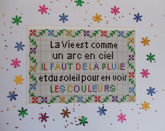 Color postcard with embroidery pattern