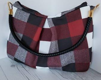 Plaid hobo bag, Maroon hobo bag purse, hobo handbags, oxblood hobo bag, hobo purse, personalized bag, personalized handbag, Faux leather bag