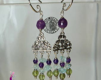 Vintage earrings in 925 sterling silver with agate, peridot and aquamarine