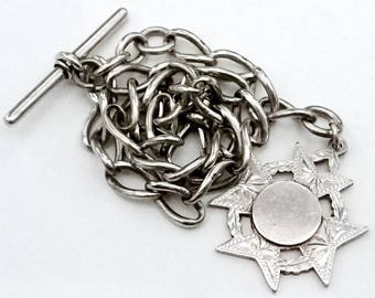 Antique Victorian solid silver pocket watch chain and fob