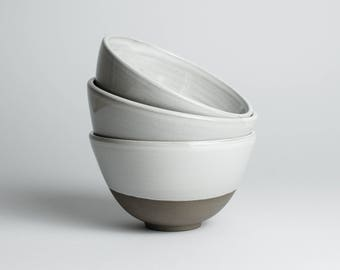 Gray Bowl with white glaze / / minimalist dish for breakfast, snacks or soup / / cereal Bowl, ceramic Tea Cup