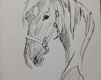 Horse - original ink drawing