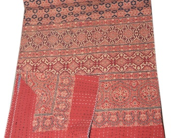 Hand Block Print Kantha Bed Cover Queen size Home Décor Cotton Bed Cover