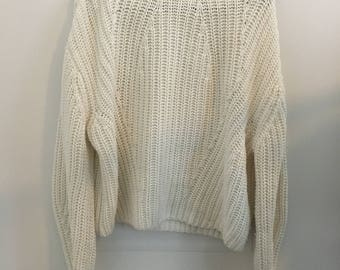 New Year SALE! 10% OFF!White vintage turtleneck sweater