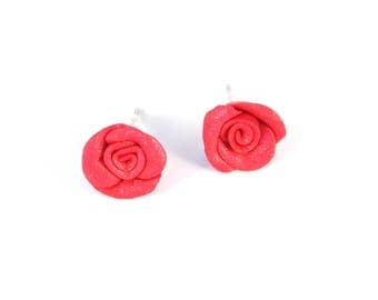 Pink Roses Stud Earrings Polymer Stainless steel Pin
