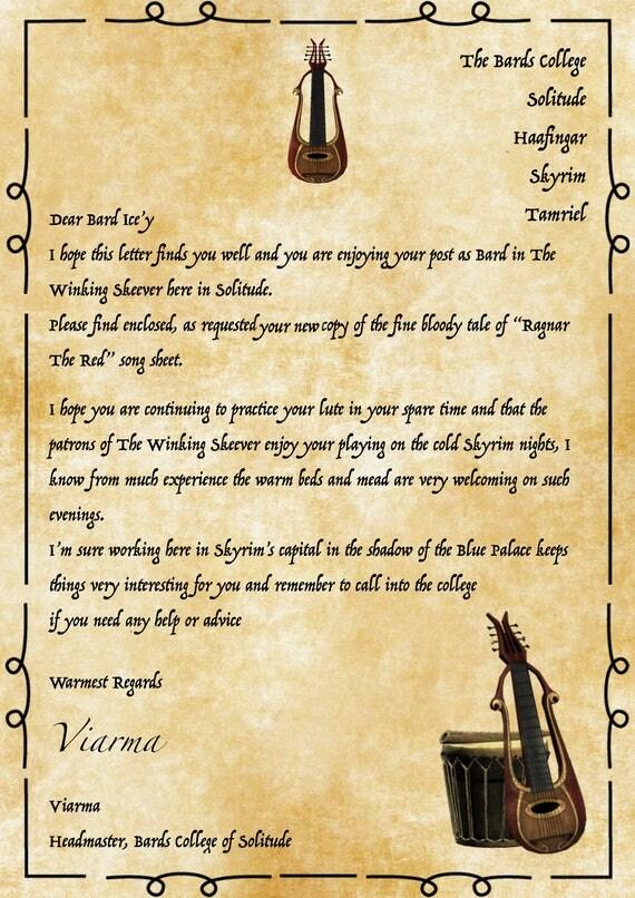 Ragnar The Red Bard Song Sheet Letter Envelope Amp Keyring Or