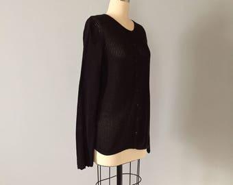 JEANNE PIERRE fishnet cardigan | 1990s cotton netted cardigan | black skinny fishnet cardigan