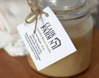Vanilla Scented Candle, Hand Poured, Apothecary Jar, Handmade Candle, Artisan Candle, Homemade Candle, Container Candle, 16oz