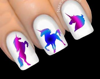 UNICORN Magic - ENCHANTED Silhouette - Nail Water Transfer Decal Sticker Art Tattoo NNC-406