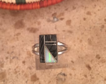 Vintage Navajo Multi Stone & Sterling Silver Inlay Ring Size 8