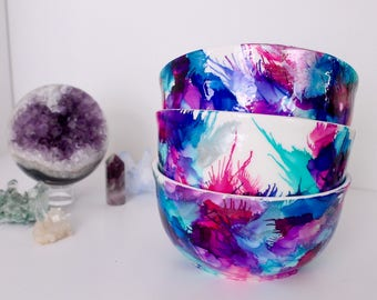 3 Bright Colorful Alcohol Ink Bowls, Hand painted bowls,