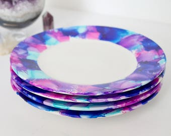 Set of 4 Hand Painted Alcohol Ink Salad Plates, Excellent Holiday Gift