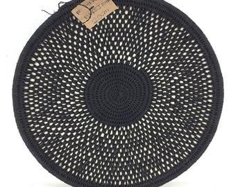 Zienzele Basket / Handmade Woven Plate / 10 inch / Zimbabwe Plate / Black White Pattern / Ethnic decor / Wall hanging