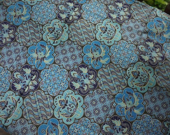 Blue, black, white, yellow patterned Thai sarong fabric, cotton and traditional design