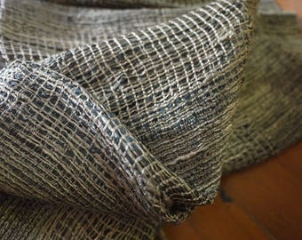 Traditional raw silk textile - asian tribal silk textile - handwoven traditional Lao Thai scarf silk weaving - rough weave large threads