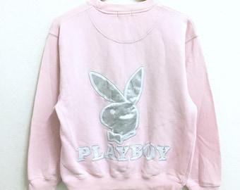 RARE!!! Playboy Big Bunny Embroidery Crew Neck Pink Colour Sweatshirts Hip Hop Swag M Size