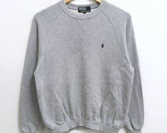 RARE!!! Polo Ralph Lauren Small Pony Embroidery Crew Neck Grey Colour Sweatshirts Hip Hop Swag 170 (S) Size