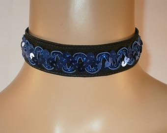 Black Satin with Royal Blue Sequin Braid with Satin Ribbon Ties Choker Bride
