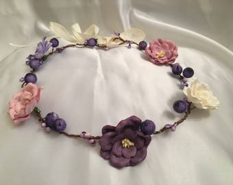 Purple, lilac, cream flower girl crown, bridesmaid hair accessories, wedding hair piece, bridal hair bands, head band, childrens alice band