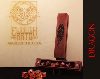 Dragon RPG Dice Box - Jatoba (Brazilian Cherry)  With Laser Etched Magnetic Lid