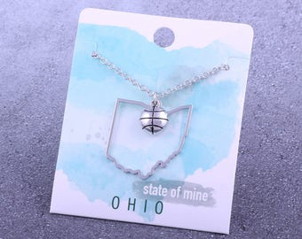 Customizable! State of Mine: Ohio Basketball Silver Necklace - Great Basketball Gift!