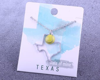 Customizable! State of Mine: Texas Tennis Enamel Necklace - Great Tennis Gift!