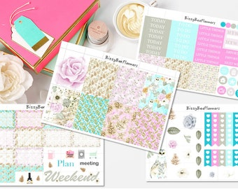 Winter Roses Weekly Kit- ECLP-Happy Planner-Floral Planner Stickers