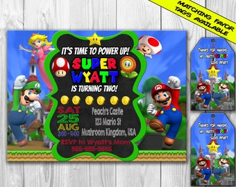 Super Mario Birthday Party Invitation, Mario Birthday Party, Mario Invitation, Super Mario Favor Tags