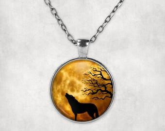 Howling Wolf Necklace - Ominous Moon, Sky, and Trees.  Howling Wolf Pendant. Wolf Howling at the Moon.  Wolf Silhouette Necklace
