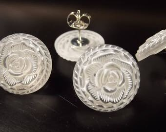 Vintage White Rose Button Earrings