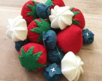 Berries and Cream, Felt Berries, Felt Strawberries, Felt Blueberries, Felt Food, Pretend Play Food, Pretend Strawberries and Blueberries